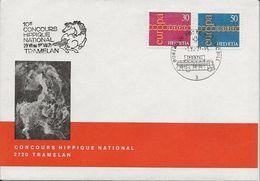 Schweiz Suisse 1971: Cachet Artistique De Hans Erni Avec Série Europa 1971 Avec O CONCOURS HIPPIQUE 1.VII.71 TRAMELAN - Chevaux