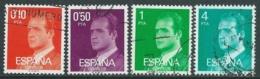 1977 SPAGNA USATO EFFIGIE DEL RE JUAN CARLOS I 4 VALORI - F17-4 - 1931-Today: 2nd Rep - ... Juan Carlos I