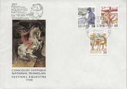 Schweiz Suisse 1988: Cachet Artistique De Hans Erni Avec Zu 733+738+739 Avec O FESTIVAL EQUESTRE 6.8.88 TRAMELAN - Horses