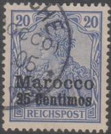 Germania Marocco 1900 25c/20pf MiN°10 (o) - Deutsche Post In Marokko