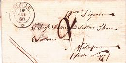 France LAC (italien) Précurseurs Utelle 10/02/60 Pour Villefranche Taxe 2 Déc. - 1849-1876: Période Classique