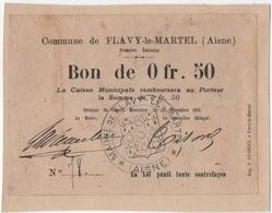 FLAVY-le-CHATEL (01) BON MUNICIPAL. 0 Fr. 50. CACHET De La MAIRIE. 1915. - Bons & Nécessité