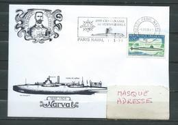 SM NARVAL - Flamme Temporaire  Centenaire Du Sous Marin - PARIS NAVAL 01/03/99 -( Complément D'affranchissement Au Verso - Storia Postale