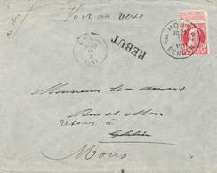 267/28 - Enveloppe TP 74 Grosse Barbe MONS 1911 Vers GHLIN - Etiquette Parti Sans Adresse , Retour , REBUT - 1905 Grosse Barbe