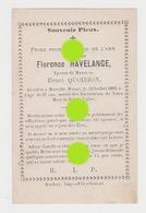 Mme Florence Havelange épouse Quoibion 1885 Morville Wéris  Imprimé à Durbuy - Overlijden