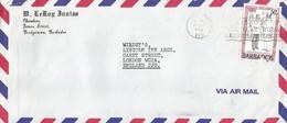 Barbados 1980 Bridgetown Postman Inspector LONDON Cover - Barbados (1966-...)