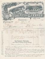 Facture Illustrée 26/9/1894 GERBAUD Vin Garanti Sans Plâtre NARBONNE Aude à Sixdenier St Usuges - France