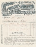 Facture Illustrée 26/9/1894 GERBAUD Vin Garanti Sans Plâtre NARBONNE Aude à Sixdenier St Usuges - 1800 – 1899
