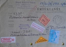 ZA165.1 Cover - Lettre Avec Value Déclarée - Remboursement  Szeged Hongrie - Szabadtéri Játékok 1991 - Hungary