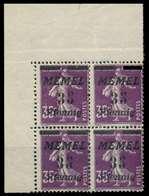 MEMEL 1922 Nr 84 Postfrisch VIERERBLOCK ECKE-OLI X887A76 - Klaipeda