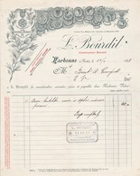 Facture Illustrée 14/1/1898 L BOURDIL Constructeur Appareils Vinicoles  NARBONNE Aude à Birot & Gourguet EV - France