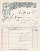 Facture Illustrée 14/1/1898 L BOURDIL Constructeur Appareils Vinicoles  NARBONNE Aude à Birot & Gourguet EV - 1800 – 1899