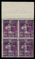 MEMEL 1922 Nr 84 Postfrisch VIERERBLOCK ORA X887AB2 - Klaipeda
