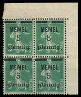 MEMEL 1920 Nr 18b Postfrisch VIERERBLOCK ECKE-ORE X887D5E - Klaipeda