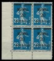 MEMEL 1920 Nr 20b Postfrisch VIERERBLOCK ECKE-ULI X887D96 - Memelgebiet