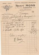 1/2 Facture Illustrée 13/1/1821  Henri MONS Fruits Légumes Primeurs NARBONNE Aude à Gaven Villefranche Lauragais - France