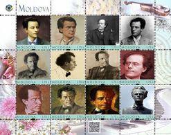 Moldova 2018, Music, Composer G. Mahler, Sheetlet Of 12v - Moldavie