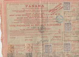 Panama Titre Au Porteur  1888  Avec Vignettes Et Timbres Fiscaux (PPP10122) - Actions & Titres