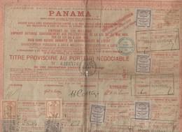 Panama Titre Au Porteur  1888  Avec Vignettes Et Timbres Fiscaux (PPP10124) - Actions & Titres