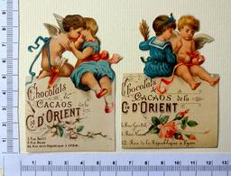 2 CHROMOS  DECOUPIS...CHOCOLAT COMPAGNIE D'ORIENT....PETITE FILLE AVEC UN ANGE - Angeles