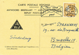 279/28 - CARTE REPONSE PRIVEE ( TRES RARE à Cette Période) TP Poortman Cachet Suédois SONDERBORG 1958 Vers Bruxelles - 1936-1951 Poortman