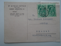 ZA165.8  Hungary Postcard - Dr. Gyulai István  ügyvéd  KISPEST  -sent To Sóskut 1951 - Hungary