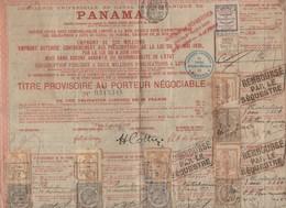 Panama Titre Au Porteur  1888  Avec Vignettes Et Timbres Fiscaux (PPP10127) - Non Classés