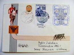 Cover Latvia 1992 Special Cancel Valmiera - Lituanie