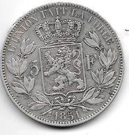 *Belguim 5 Francs 1851 French   Vf Leopold I Vf - 1831-1865: Léopold I