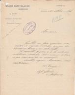 Facture 16/10/1928 GUIRY Grand Café Glacier  NARBONNE Aude - France