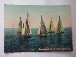 """Cartolina Viaggiata """"MIRAMARE DI RIMINI Armonia Di Barche"""" 1954 - Rimini"""