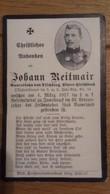 Sterbebild Wk1 Ww1 Bidprentje Avis Décès Deathcard KUK IR14 Reservespital Innsbruck Aus Tischberg 4. März 1917 - 1914-18