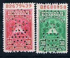 Nicaragua, 2 Old Revenues With Perfin; (*) D3700 - Nicaragua