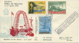 SAN MARINO - FDC ALA 1958 - FIERA DI MILANO - FDC
