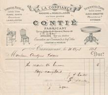 Facture Illustrée 10/4/1891 CONTIE Meubles Sièges Tapis A LA CONFIANCE  CARCASSONNE Aude - France