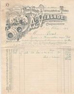 Facture Illustrée 23/2/1898 VIALADE Distillerie Du Tivoli Kina Fruits Confits Blanquette CARCASSONNE Aude - France