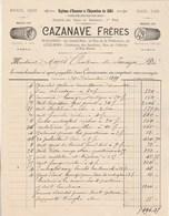 Facture Illustrée 30/12/1899 CAZANAVE Meubles Sièges Glaces Tapis CARCASSONNE Aude à Marès Chateau Paraza - France