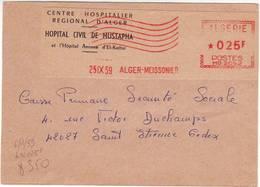 DV55. DEVANT DE LETTRE CENTRE HOSPITALIER RÉGIONAL ALGER - HÔPITAL MUSTAPHA - EMA - 1959 - Lettres & Documents