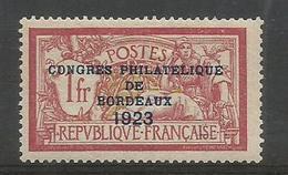 1923 - CONGRES De BORDEAUX - N° 182 * (MLH) - 2 Marques D'experts Au Dos - TTB - France