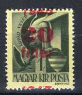 Hungary 1945. Assistant Stamp With The Red Overprint Big Dislocation ! MNH (**) - Hungary