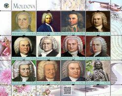Moldova 2019, Music, Composer I.S. Bach, Sheetlet Of 12v - Moldavie
