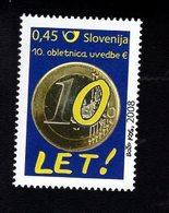 703446910 SLOVENIA POSTFRIS MINT NEVER HINGED POSTFRISCH EINWANDFREI  SCOTT 766 INTRODUCTION OF THE EURO 10TH ANNIV - Slovénie