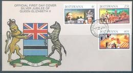 BOTSWANA  - 7.2.1977 -  FDC - SILVER JUBILEE ELIZABETH II - Yv 331-333 SG 315-317 - Lot 18906 - Botswana (1966-...)