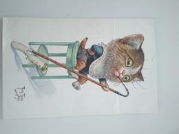 ...CPA Originale...CHAT FUMANT LA PIPE, Animal Humanisé..Arthur Thiele - Thiele, Arthur