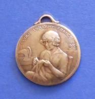 Médaille En Métal Jaune - École Ménagère Pour Orphelins De Guerre - École Uruguay France à Avon - Professionnels / De Société