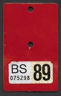 Velonummer Basel Stadt BS 89 (Erste Vignette BS) - Plaques D'immatriculation
