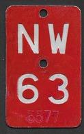 Velonummer Nidwalden NW 63 - Plaques D'immatriculation