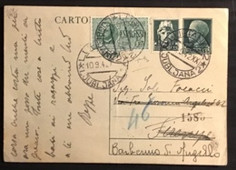 1942 DA LUBIANA ESPRESSO SU INTERO POSTALE - 1900-44 Vittorio Emanuele III