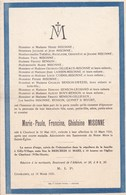 CHARLEROI Marie-Paule MISONNE 1921-1928 Avis Mortuaire Enfant - Overlijden