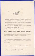 CHARLEROI Paul MISONNE 1899-1899  Avis Mortuaire Enfant PIRMEZ MISONNE - Overlijden